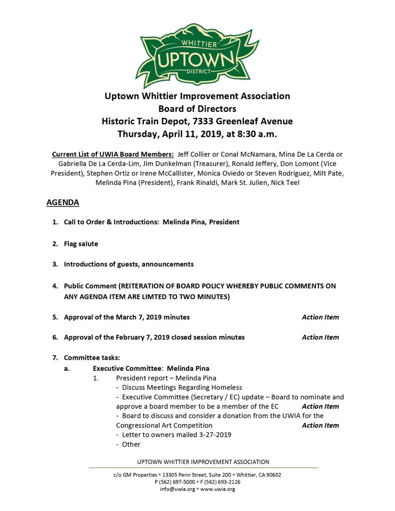 thumbnail of Board Meeting Agenda 04-11-2019
