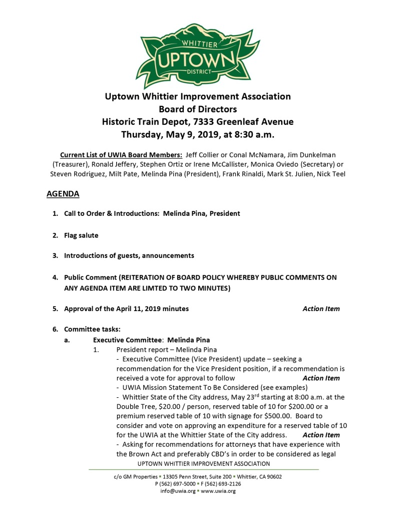 thumbnail of Board Meeting Agenda 05-09-2019