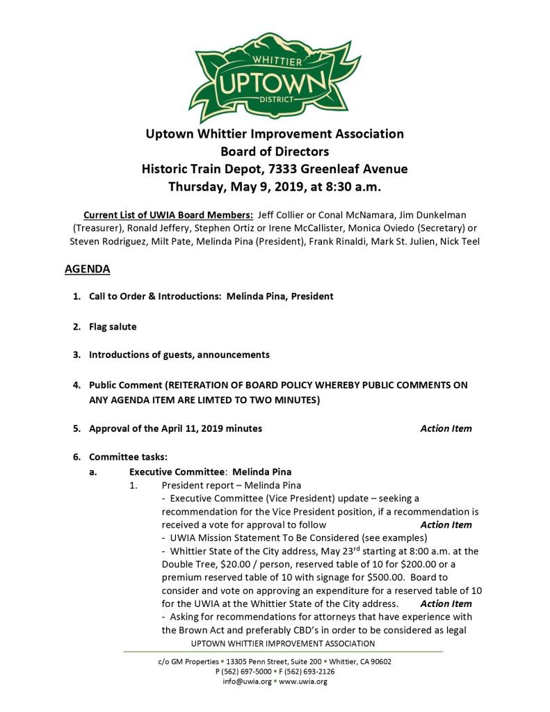 thumbnail of Board Meeting Agenda 05-09-2019
