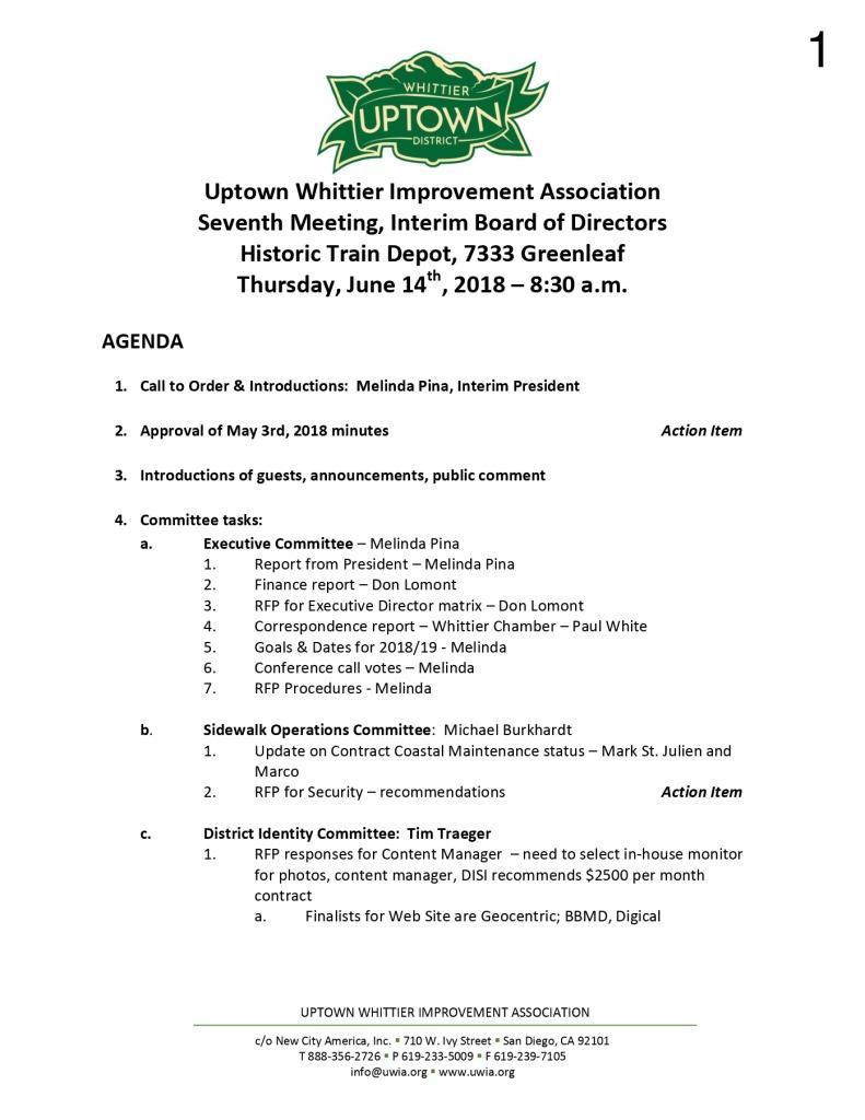 thumbnail of Board Meeting Agenda 06-14-2018