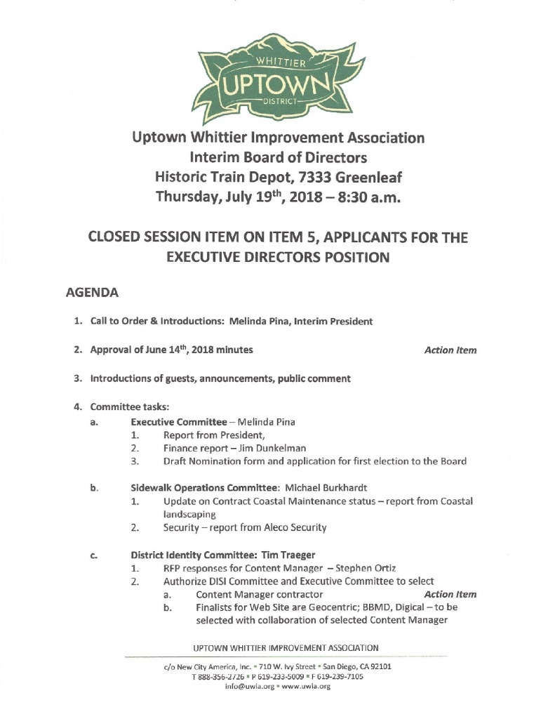 thumbnail of Board Meeting Agenda 07-19-2018