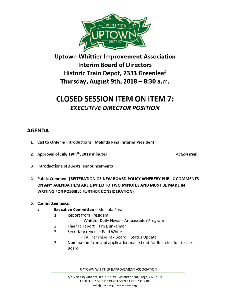 thumbnail of Board Meeting Agenda 08-09-2018