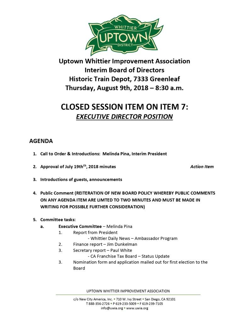 thumbnail of Board Meeting Agenda 08-09-2018