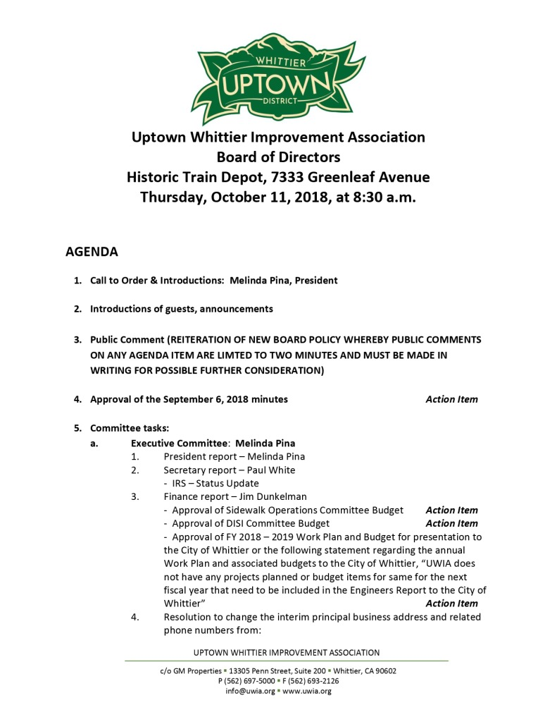 thumbnail of Board Meeting Agenda 10-11-2018