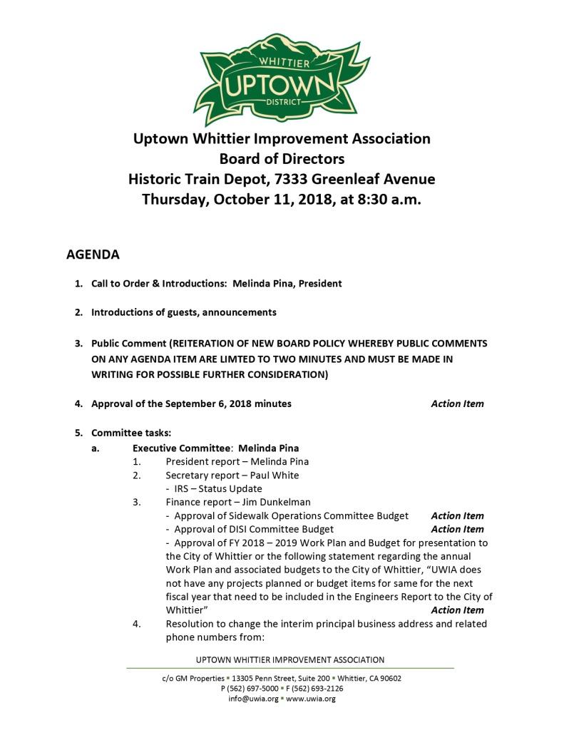 thumbnail of Board Meeting Agenda 10-11-2018