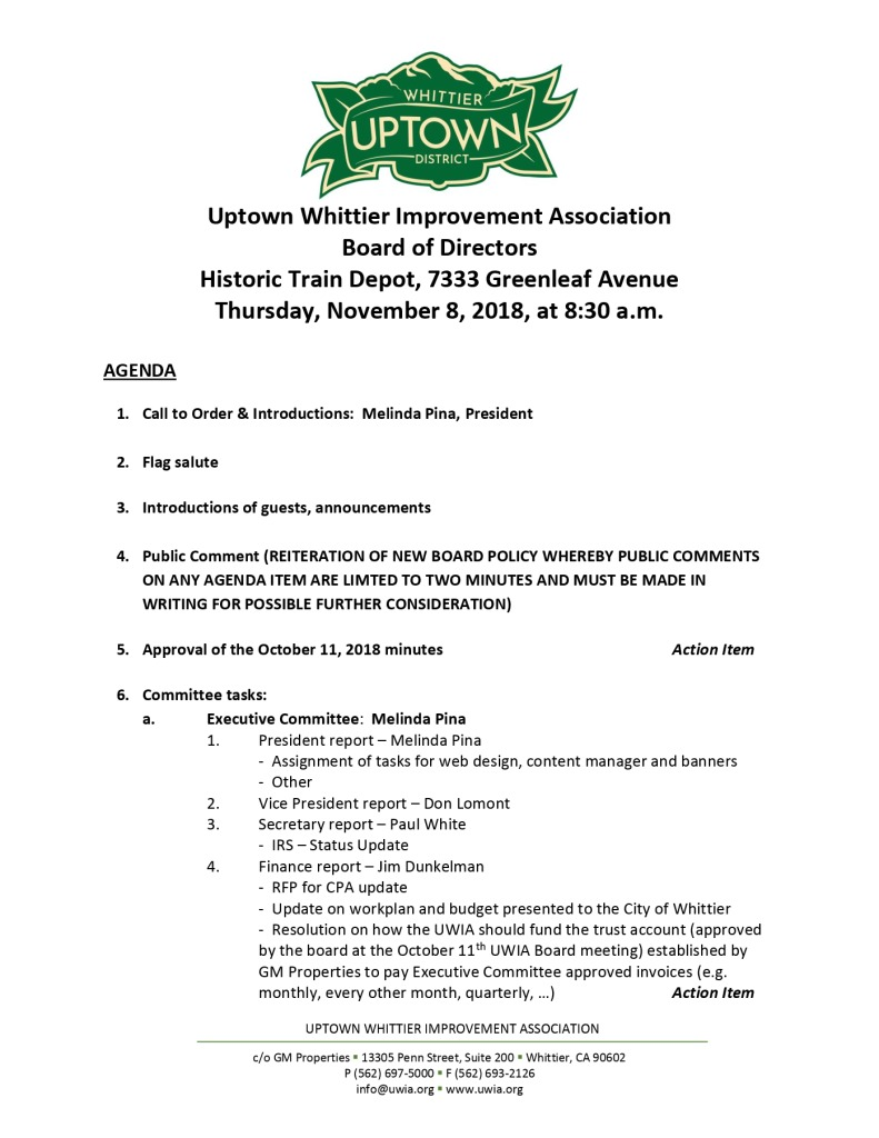 thumbnail of Board Meeting Agenda 11-08-2018