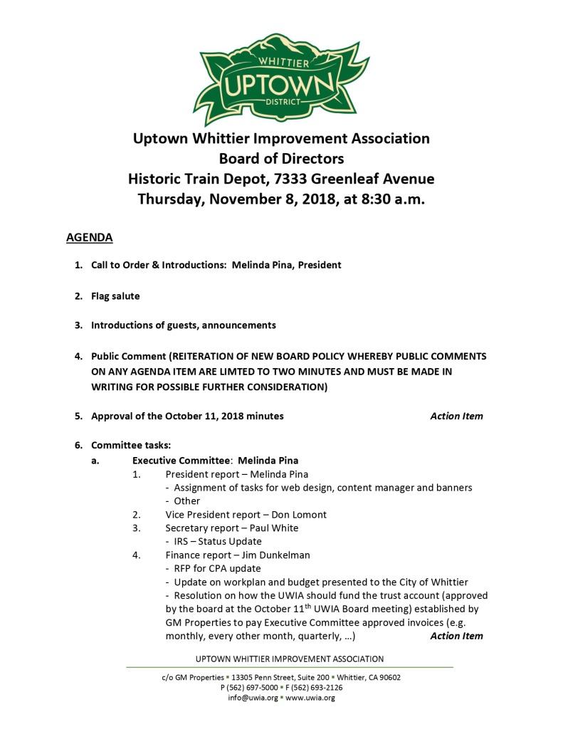thumbnail of Board Meeting Agenda 11-08-2018