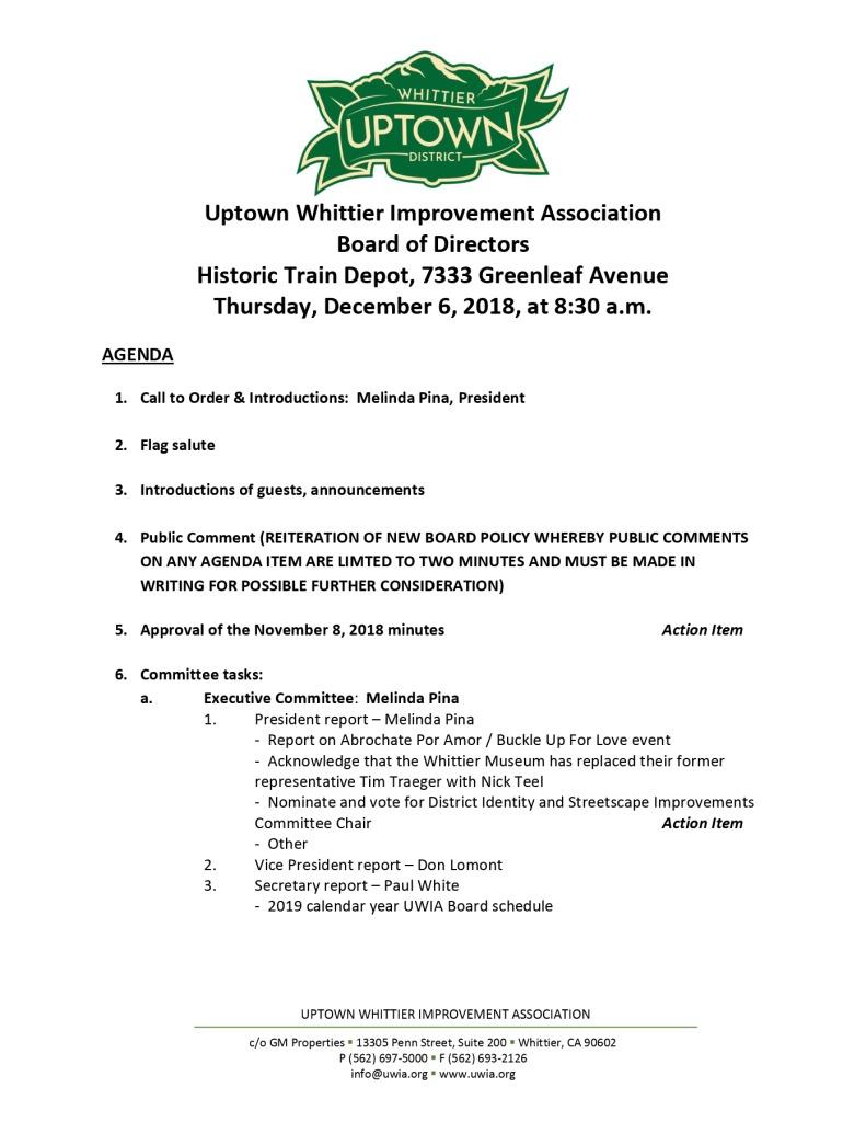 thumbnail of Board Meeting Agenda 12-06-2018