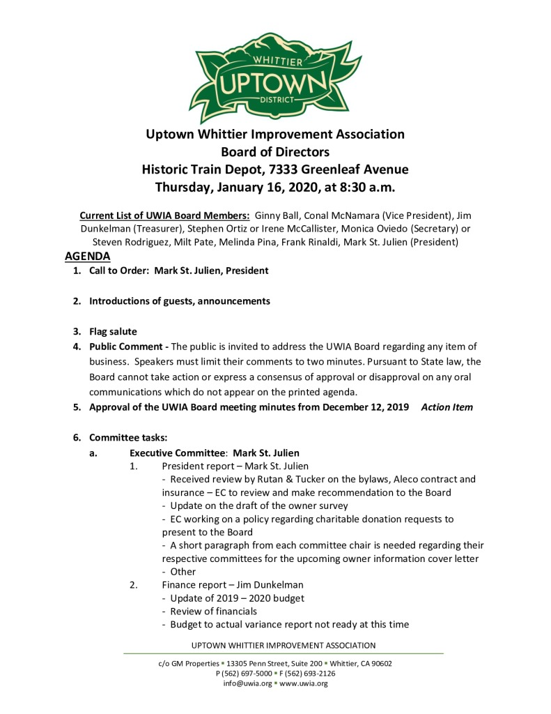 thumbnail of Board Meeting Agenda Packet 01-16-2020