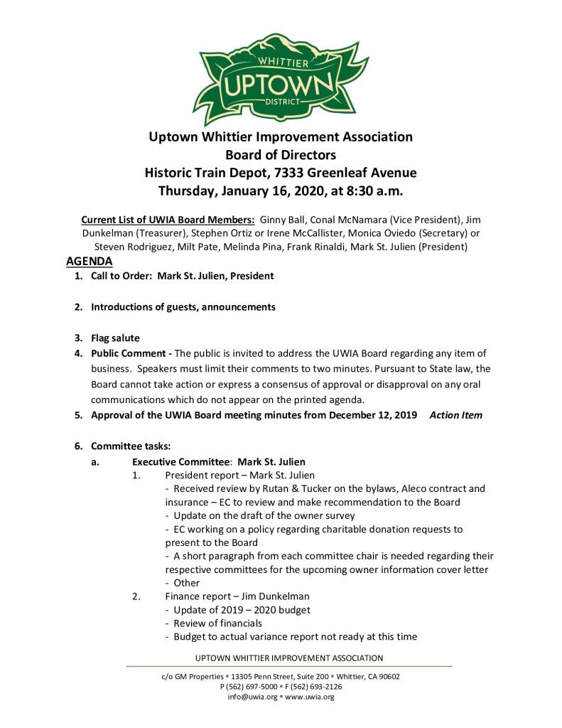 thumbnail of Board Meeting Agenda Packet 01-16-2020