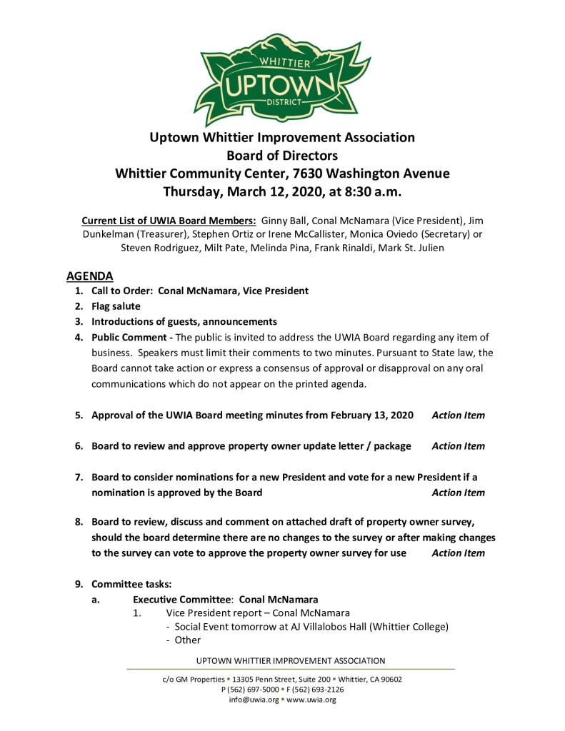 thumbnail of Board Meeting Agenda Packet 03-12-2020