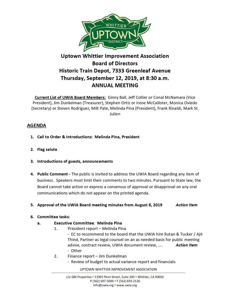 thumbnail of Board Meeting Agenda Packet 09-12-2019
