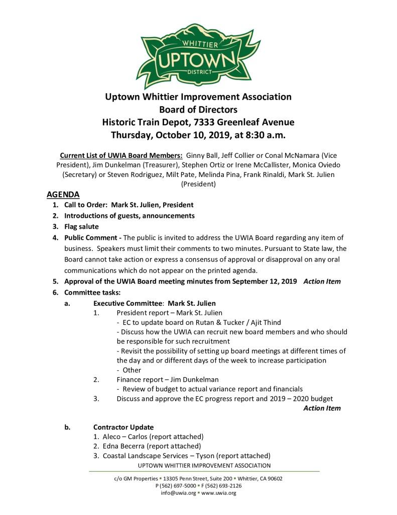 thumbnail of Board Meeting Agenda Packet 10-10-2019