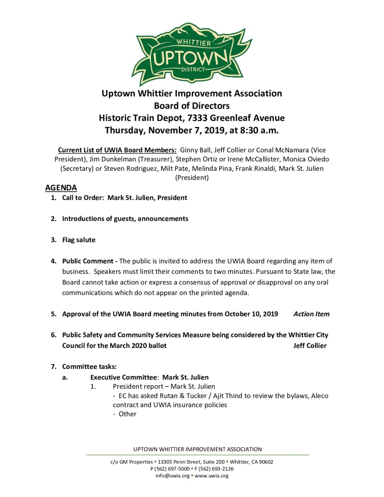 thumbnail of Board Meeting Agenda Packet 11-07-2019