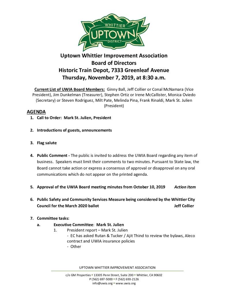 thumbnail of Board Meeting Agenda Packet 11-07-2019