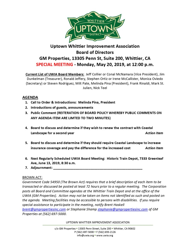 thumbnail of Board Special Meeting Agenda 05-20-2019