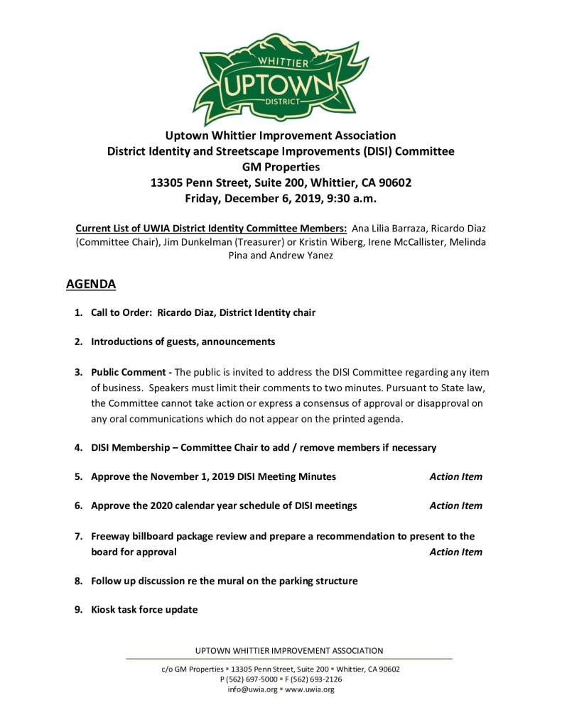 thumbnail of DISI Committee Meeting Agenda 12-06-2019