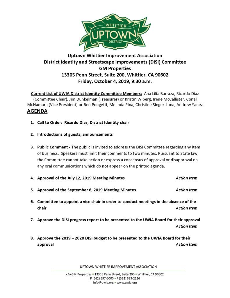 thumbnail of DISI Committee Meeting Agenda Packet 10-04-2019
