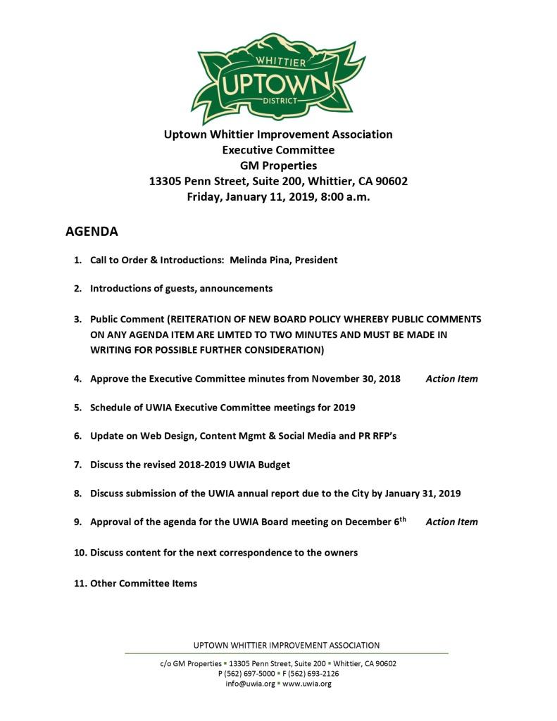 thumbnail of Executive Committee Agenda 01-11-2019