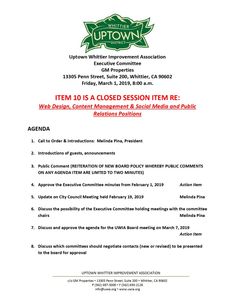 thumbnail of Executive Committee Agenda 03-01-2019
