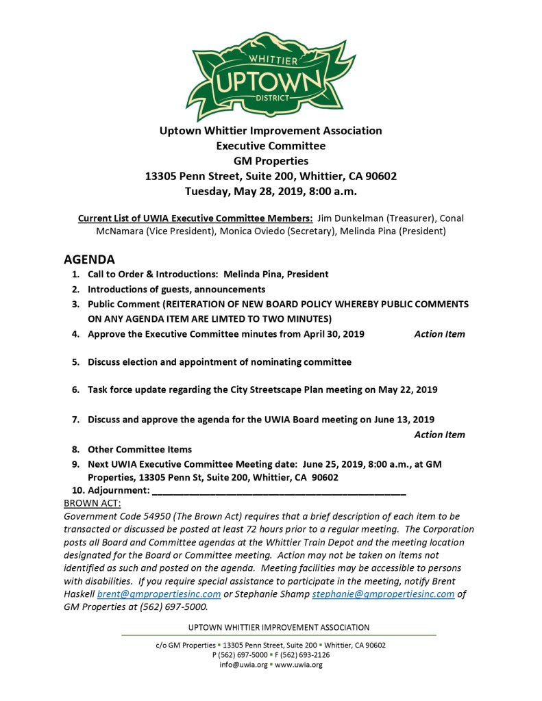 thumbnail of Executive Committee Agenda 05-28-2019