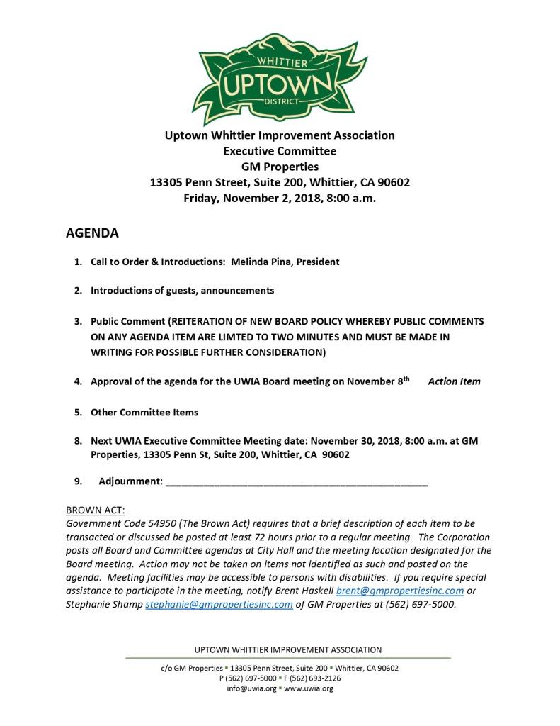 thumbnail of Executive Committee Agenda 11-02-2018