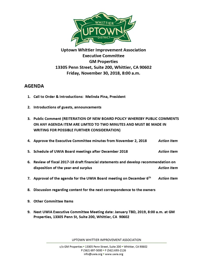 thumbnail of Executive Committee Agenda 11-30-2018