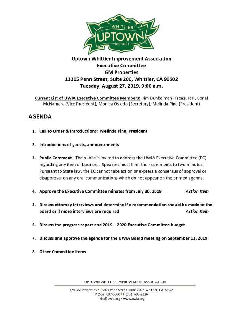 thumbnail of Executive Committee Meeting Agenda 08-27-2019