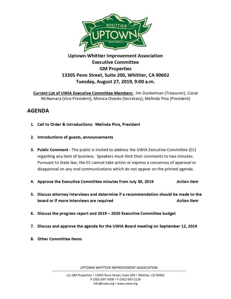 thumbnail of Executive Committee Meeting Agenda 08-27-2019