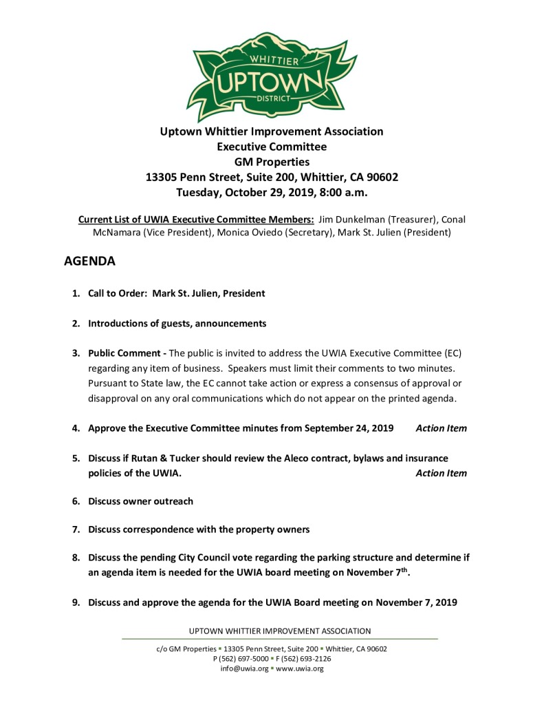 thumbnail of Executive Committee Meeting Agenda Packet 10-29-2019