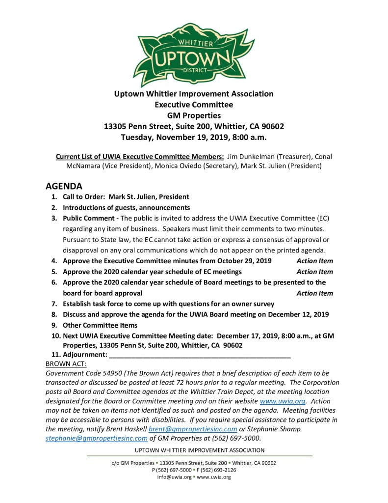 thumbnail of Executive Committee Meeting Agenda Packet 11-19-2019