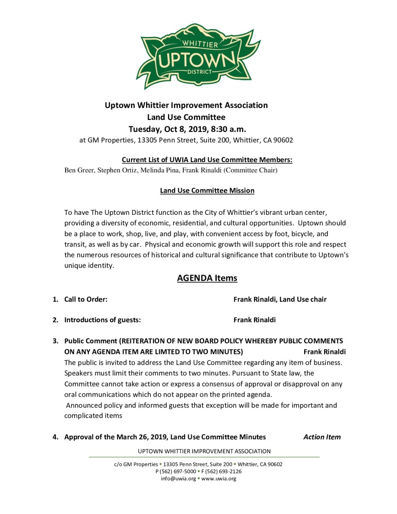 thumbnail of Land Use Committee Meeting Agenda 10-08-2019