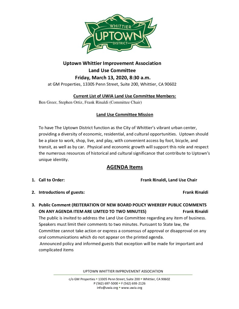 thumbnail of Land Use Committee Meeting Agenda Packet 03-13-2020