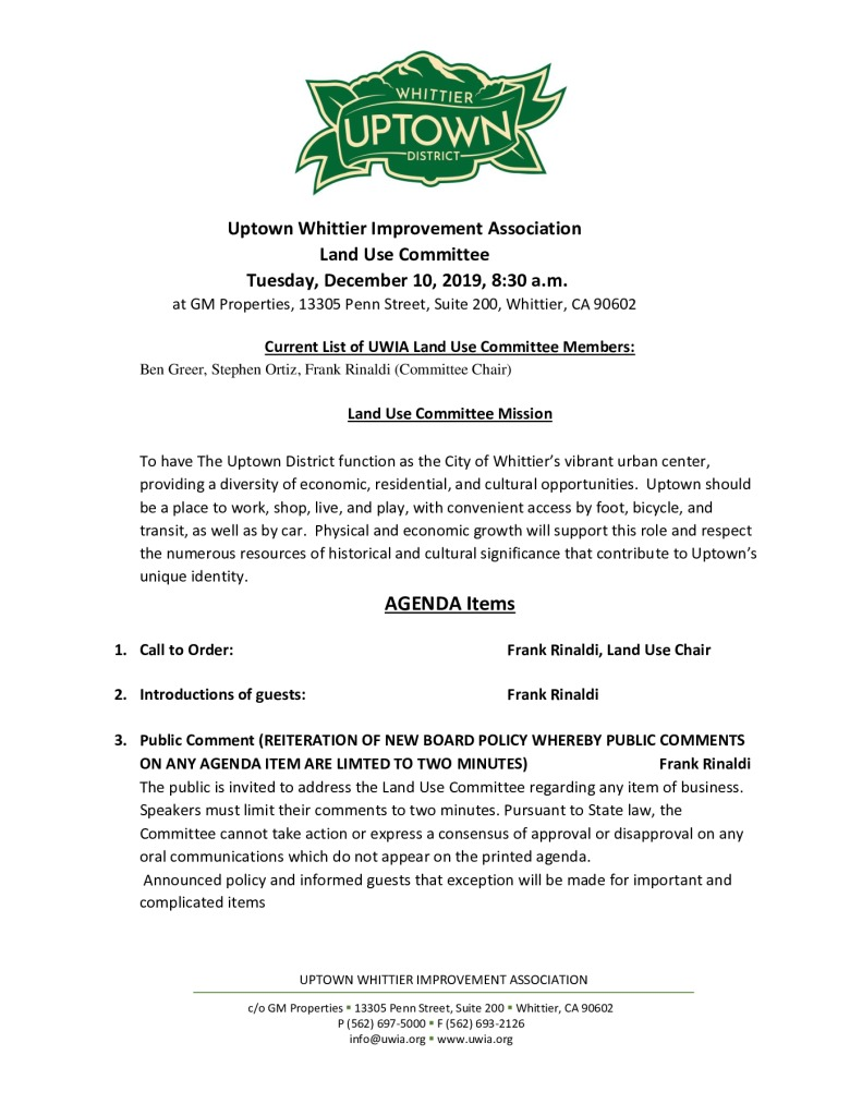 thumbnail of Land Use Committee Meeting Agenda Packet 12-10-2019