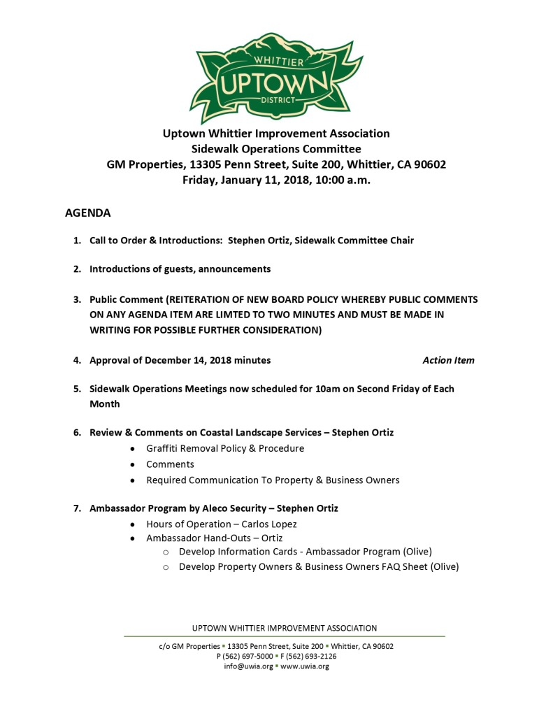 thumbnail of SOBO Committee Meeting Agenda 01-11-2019
