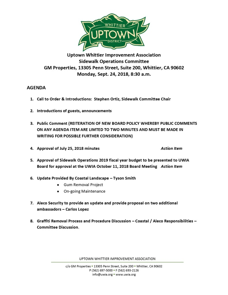 thumbnail of SOBO Committee Meeting Agenda 09-24-2018