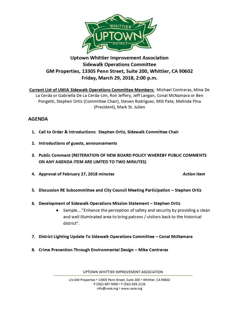 thumbnail of Sidewalk Operations Committee Meeting Agenda 03-29-2019