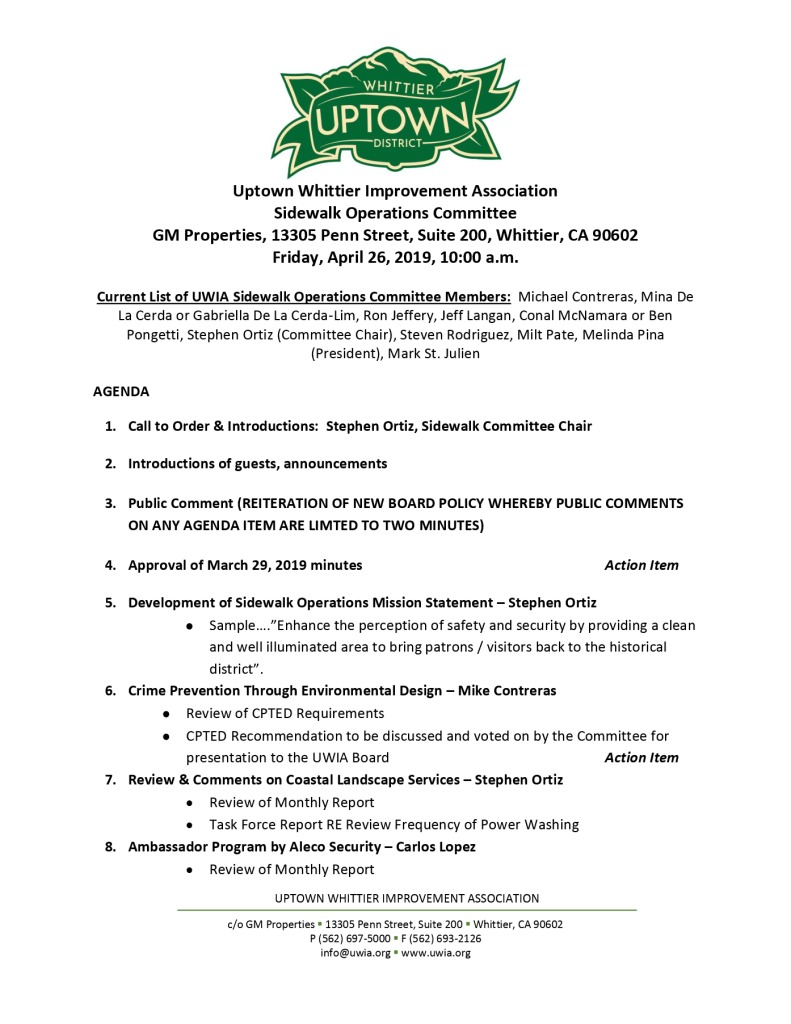 thumbnail of Sidewalk Operations Committee Meeting Agenda 04-26-2019