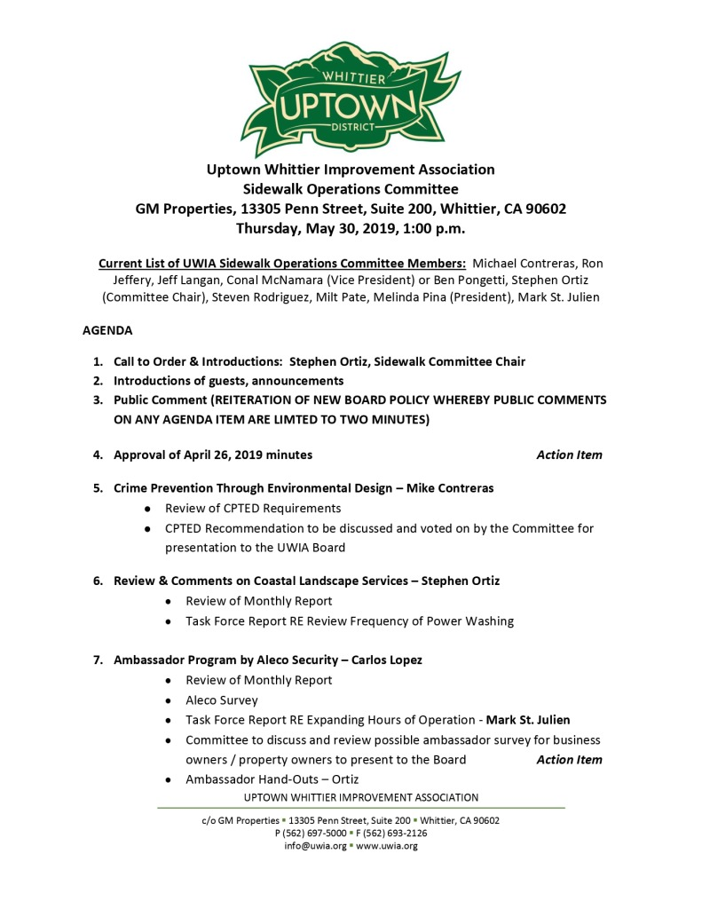 thumbnail of Sidewalk Operations Committee Meeting Agenda 05-30-2019