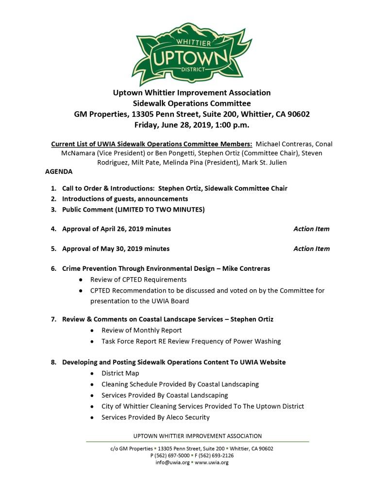 thumbnail of Sidewalk Operations Committee Meeting Agenda 06-28-2019