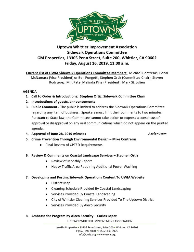 thumbnail of Sidewalk Operations Committee Meeting Agenda 08-16-2019