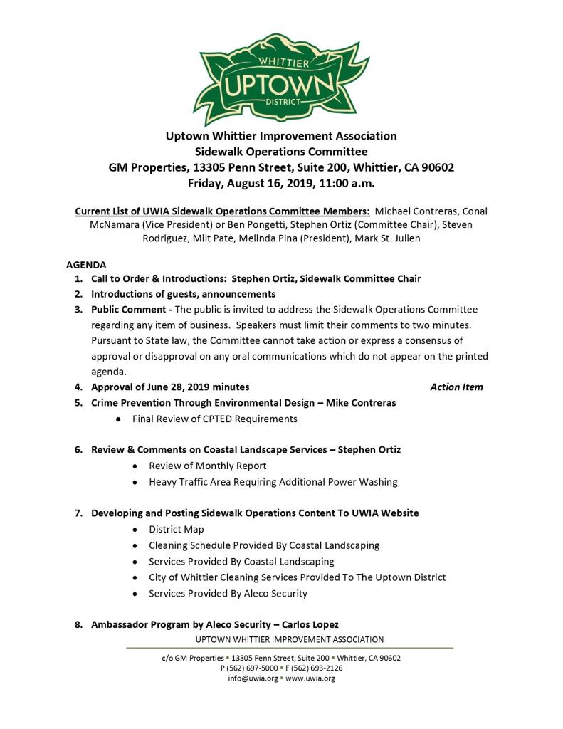 thumbnail of Sidewalk Operations Committee Meeting Agenda 08-16-2019