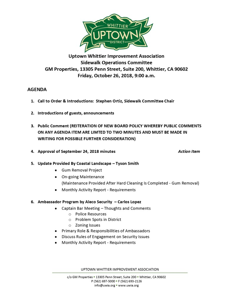 thumbnail of Sidewalk Operations Committee Meeting Agenda 10-26-2018
