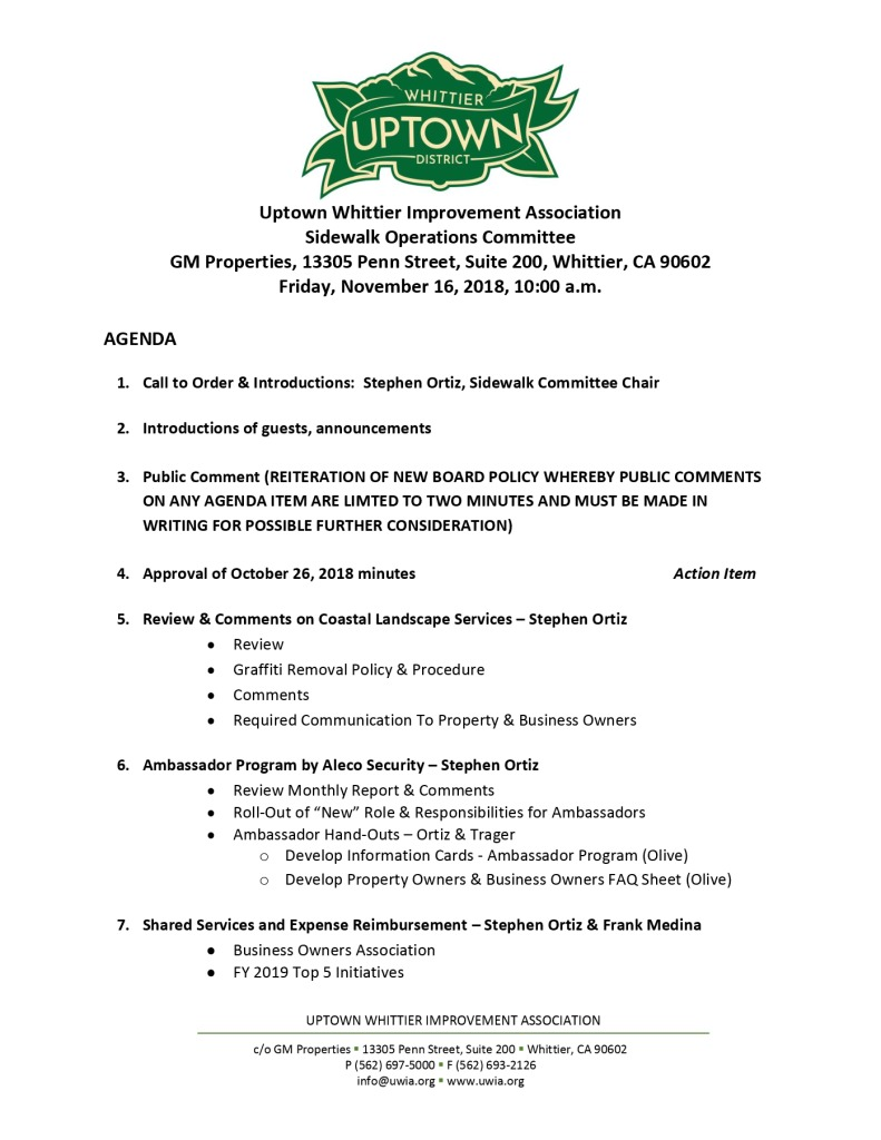 thumbnail of Sidewalk Operations Committee Meeting Agenda 11-16-2018