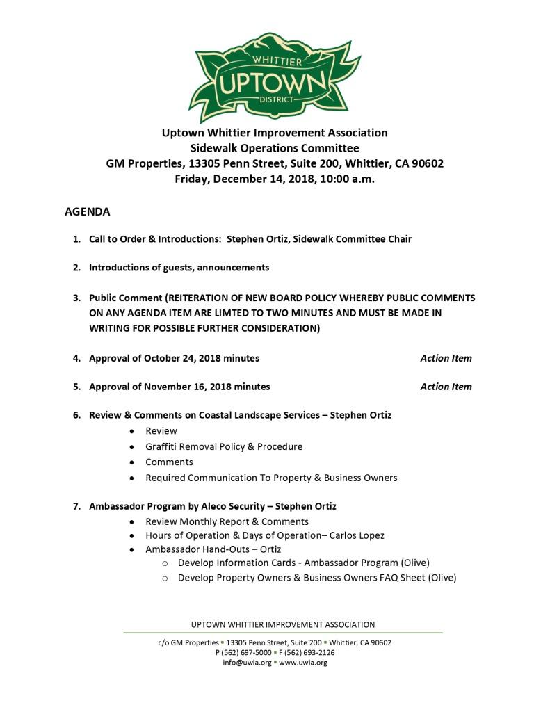 thumbnail of Sidewalk Operations Committee Meeting Agenda 12-14-2018