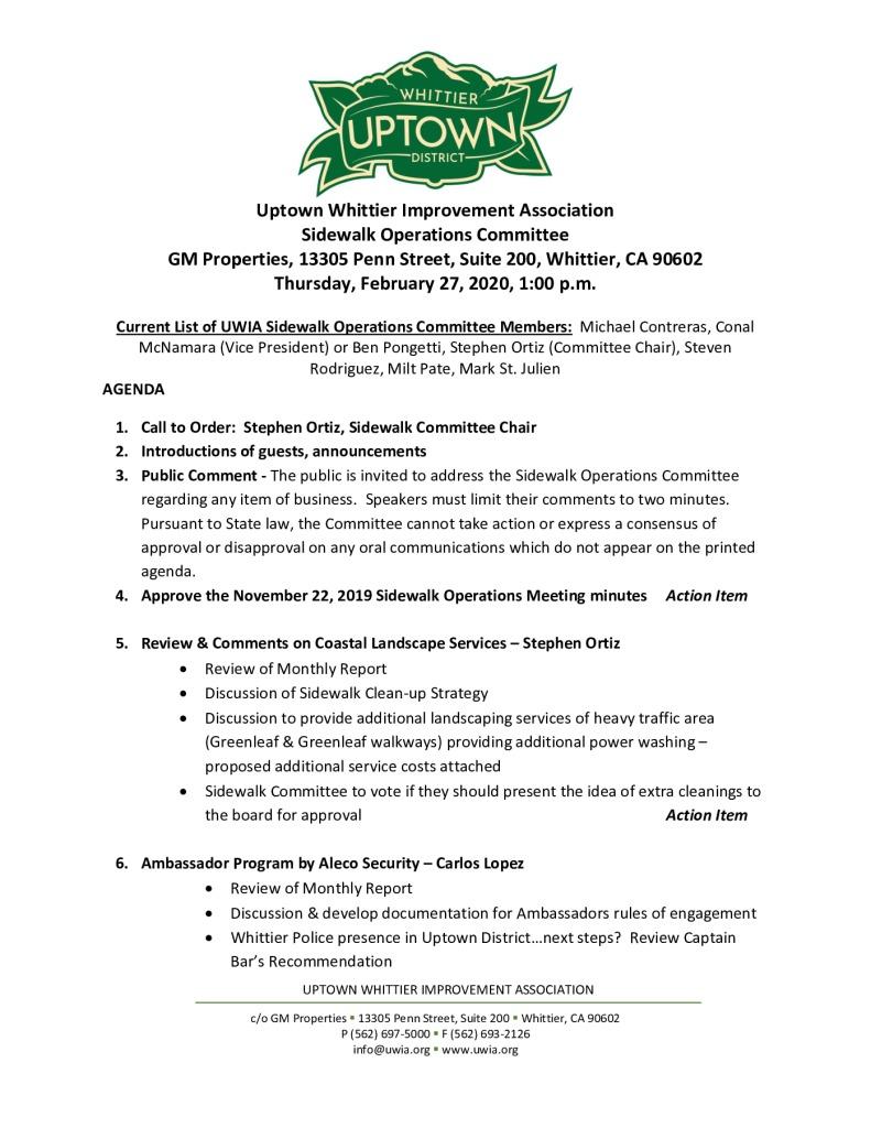 thumbnail of Sidewalk Operations Committee Meeting Agenda Packet 02-27-2020