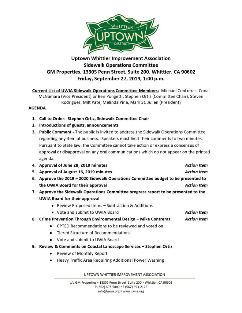 thumbnail of Sidewalk Operations Committee Meeting Agenda Packet 09-27-2019