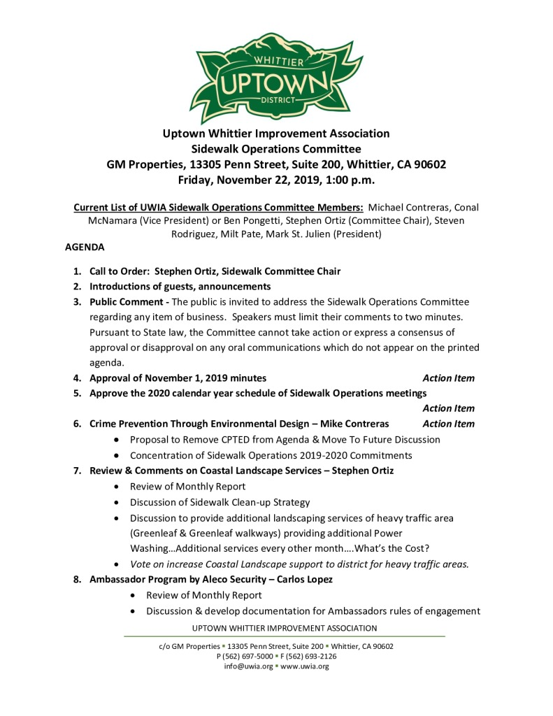 thumbnail of Sidewalk Operations Committee Meeting Agenda Packet 11-22-2019