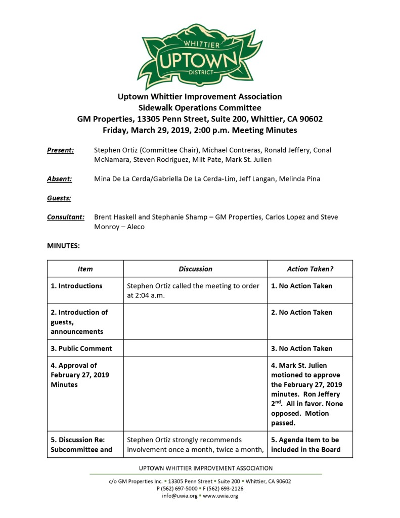 thumbnail of Sidewalk Operations Committee Meeting Minutes 03-29-2019