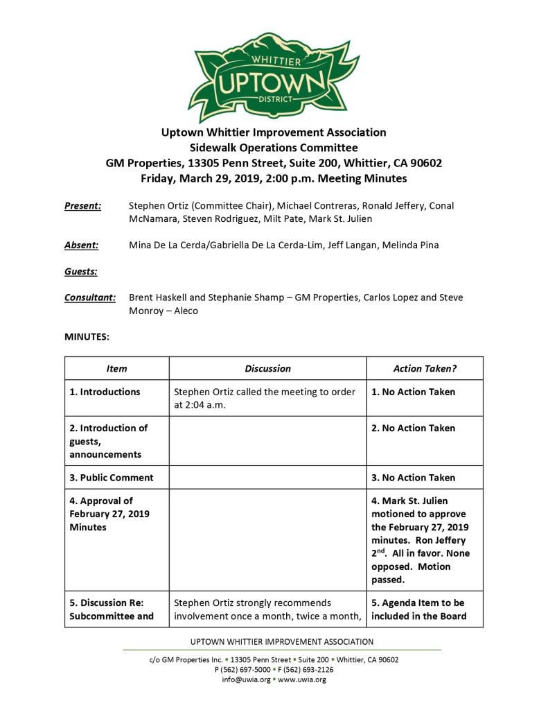 thumbnail of Sidewalk Operations Committee Meeting Minutes 03-29-2019